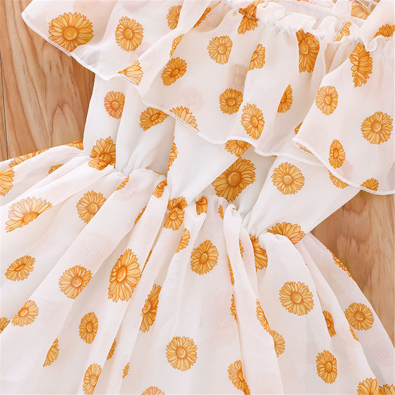 Girls Floral Printed Sweet Suspender Dress Wholesale Little Girl Dresses