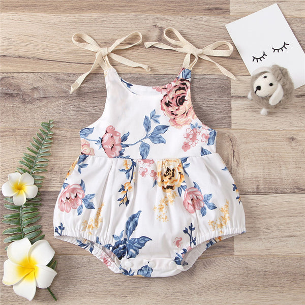Baby Girls Floral Printed Tie Up Sling Romper baby clothes vendors
