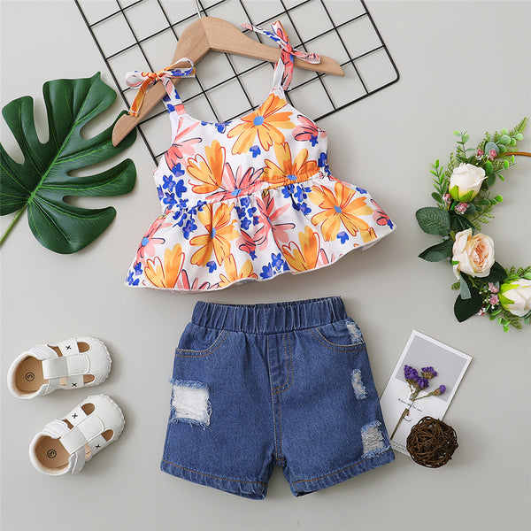 Girls Floral Printed Tie Up Sling Top & Ripped Denim Shorts wholesale childrens clothing online