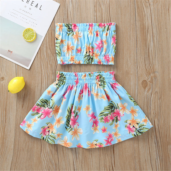 Girls Floral Printed Tube Top & Skirt Wholesale Clothing For Girls