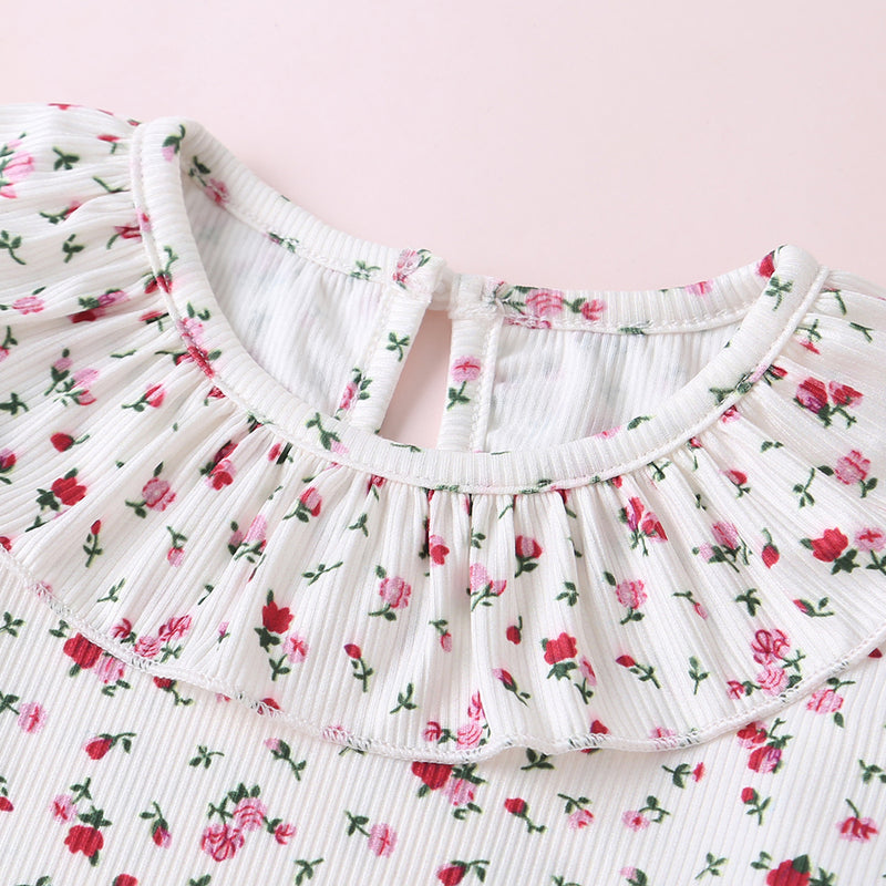 Baby Girls Floral Ruffle Collar Romper & Solid Bow Decor Skirt