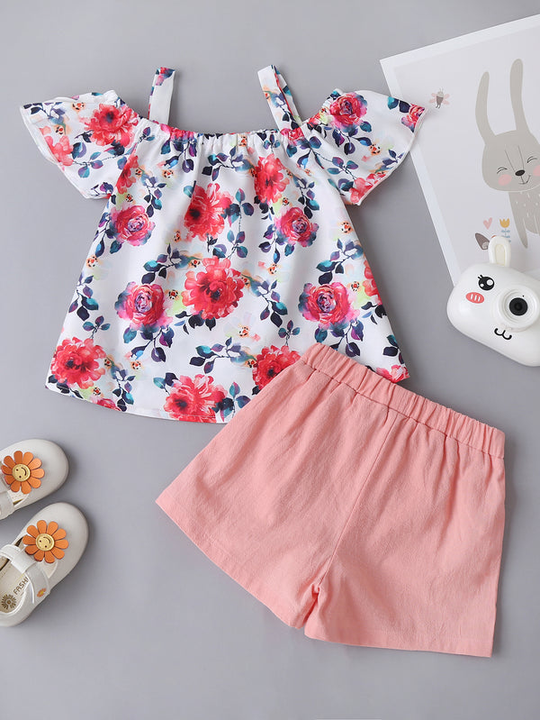 Girls Floral Short Sleeve Bow Top & Solid Shorts Wholesale Little Girl Boutique Clothing