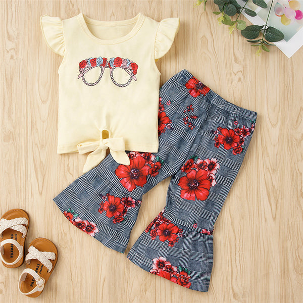 Girls Floral SunGlasses Printed Flying Sleeve Top & Plaid Bell Trousers Girl Boutique Clothing Wholesale