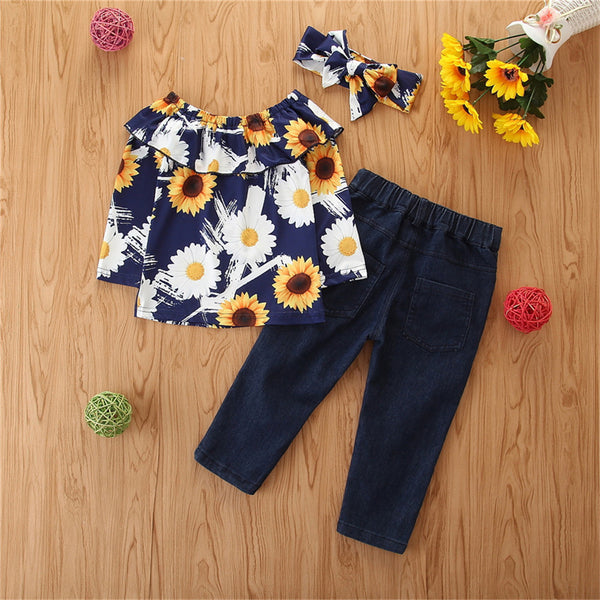 Girls Floral Sunflower Printed Long Sleeve Top & Ripped Jeans & Headband Wholesale Childrens Clothing
