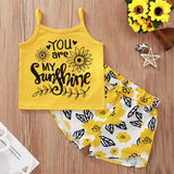 Girls Floral You Are My Sunshine Printed Tank Top & Shorts Kids Wholesale Clothing