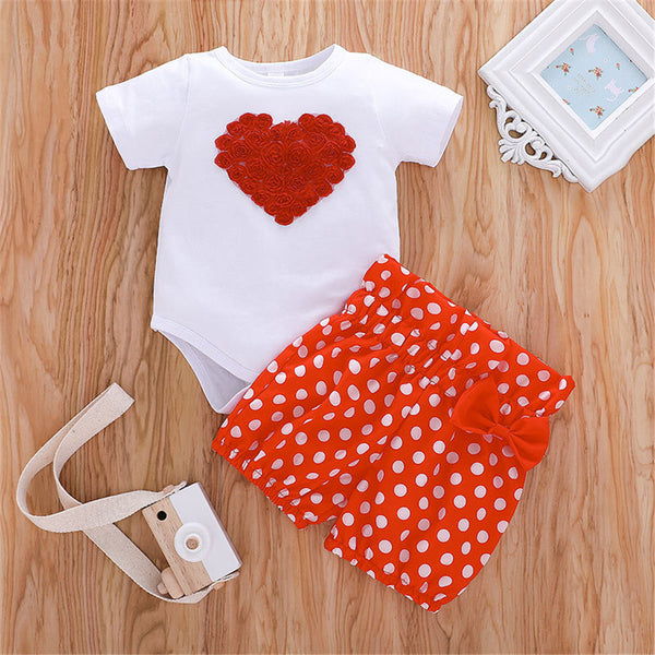 Baby Girls Flower Heart Short Sleeve Romper & Polka Dot Shorts Bulk Baby Clothes For Sale