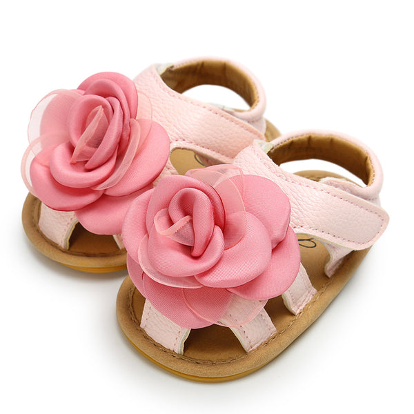 Baby Girls Flower Hollow Out Closed Toe Magic Tape Sandals wholesale kids shoes