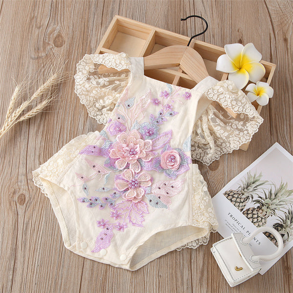 Baby Girls Flower Lace Sling Flying Sleeve Romper Baby Clothes Suppliers