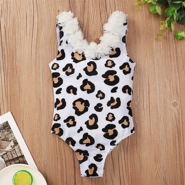 Girls Flower Leopard Printed Sleeveless Swimwear Wholesale Baby Girl Clothes