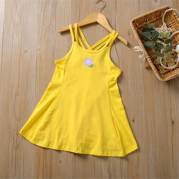 Girls Flower Letter Printed Casual Suspender Dress Toddler Girls Wholesale