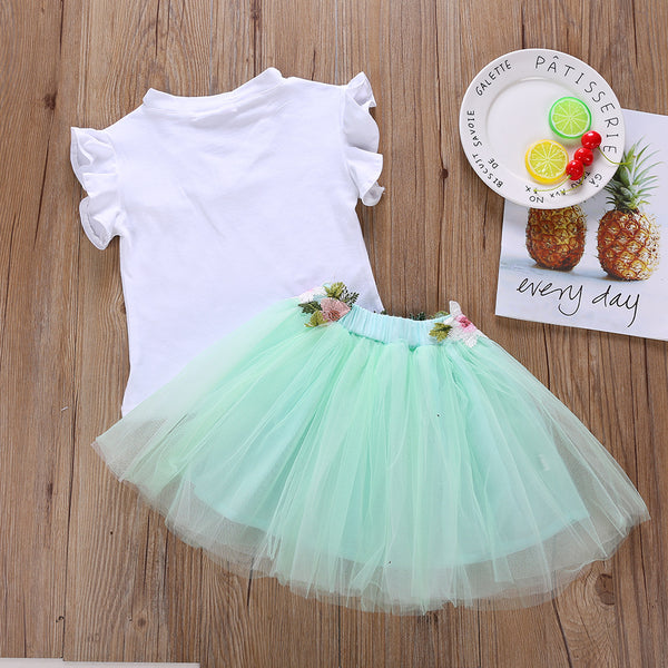 Girls Flower Letter Printed Short-sleeve Top & Tulle Skirt Girls Clothes Wholesale