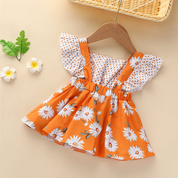 Baby Girls Flower Polka Dot Printed Flying Sleeve Dress Baby Clothing Wholesale Distributors