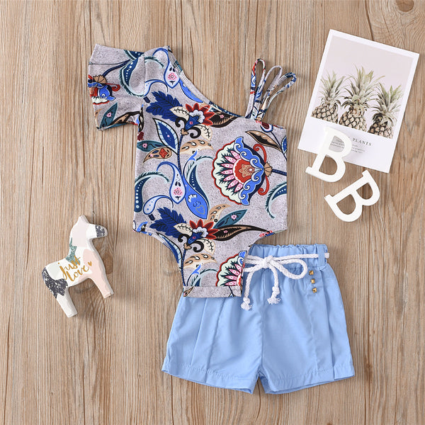 Baby Girls Flower Printed Irregular Collar Romper & Solid Shorts Wholesale Baby Clothes Suppliers