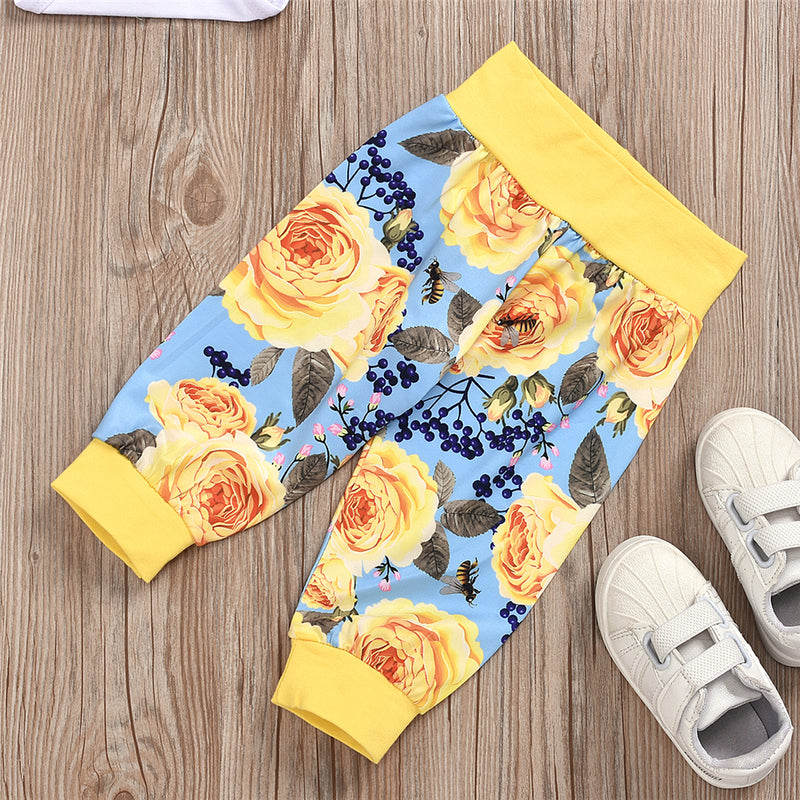Baby Unisex Flower Printed Long Sleeve Romper & Pants & Hat Baby Boutique Clothing Wholesale