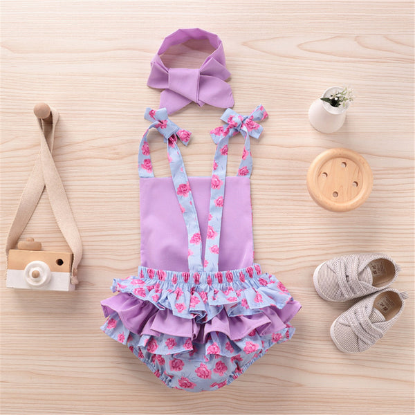 Baby Girls Flower Printed Ruffled Suspender Romper & Headband cheap baby girl clothes boutique