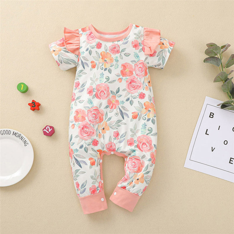 Baby Girls Flower Printed Short Sleeve Ruffled Romper Baby Summer Clothes
