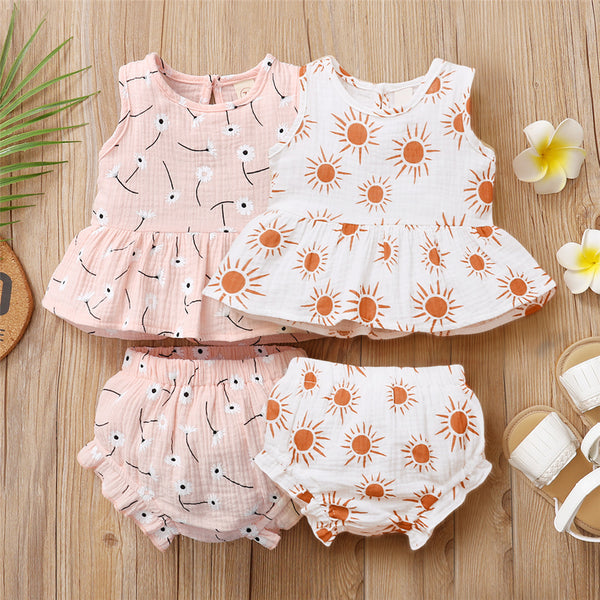 Baby Girls Flower Printed Sleeveless Top & Shorts Wholesale Baby Clothes Usa