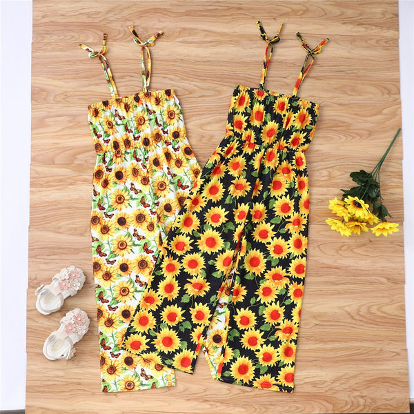 Girls Flower Printed Sling Jumpsuit kids wholesale clothing
