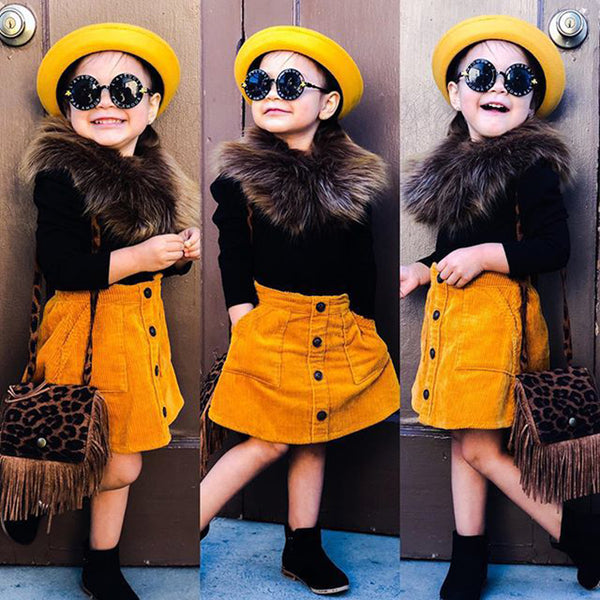 Girls Fluffy Collar Solid Color Sweater & Skirt Wholesale Boutique Girl Clothing