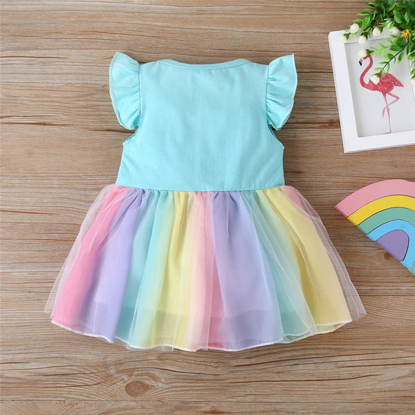 Girls Flutter-Sleeve Splicing Mesh Princess Dress wholesale children's boutique clothing suppliers usa