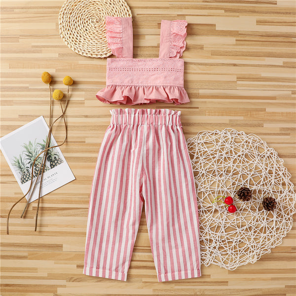 Girls Flutter-sleeve Solid Color Tube Top & Striped Pants wholesale children's boutique clothing suppliers usa