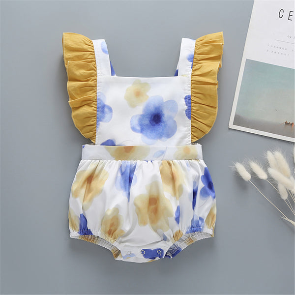 Baby Girls Flutter Sleeve Flower Printed Romper Wholesale Baby Clothes
