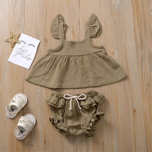 Baby Girls Flutter Sleeve Solid Color Top & Shorts Wholesale Baby Clothes