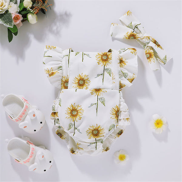 Baby Girls Flutter Sleeve Sunflower Printed Romper & Headband baby clothes wholesale usa