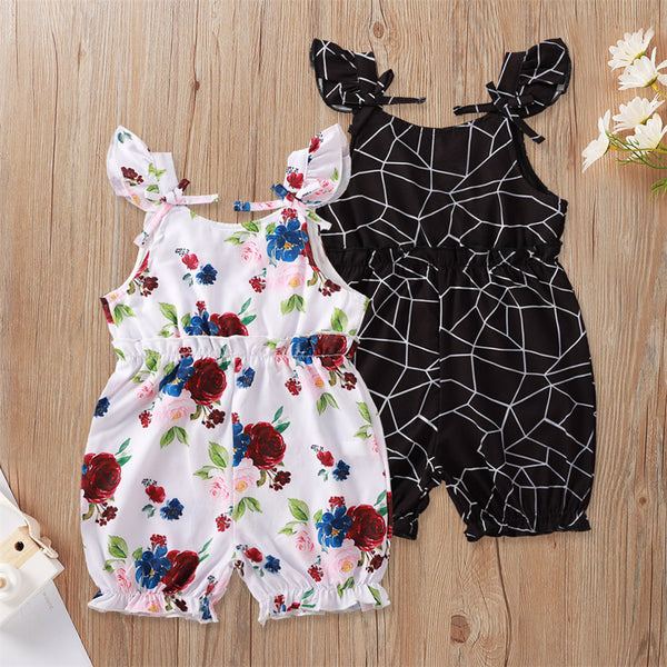 Baby Girls Fluttter-sleeve Floral Plaid Printed Romper Cheap Boutique Baby Clothing