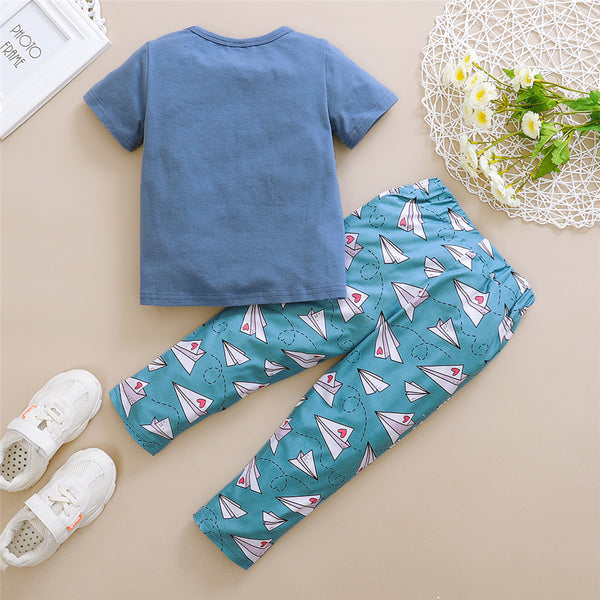 Unisex Flying Heart Envelope Printed Short Sleeve Top & Pants wholesale toddler clothing