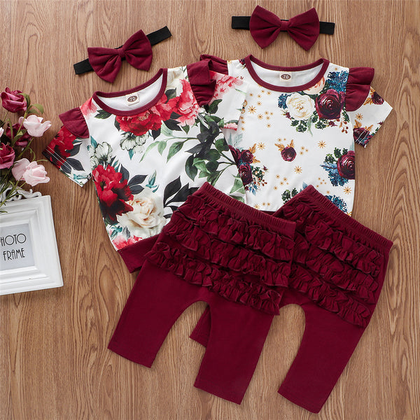 Baby Girls Flying Short Sleeve Floral Printed Top & Red Pants & Headband bulk baby clothes