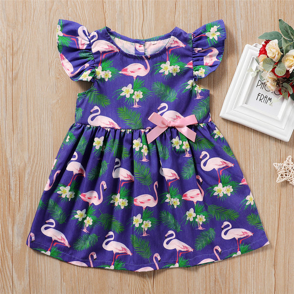 Girls Flying Sleeve Animal Leaf Printed Dress wholesale childrens clothing