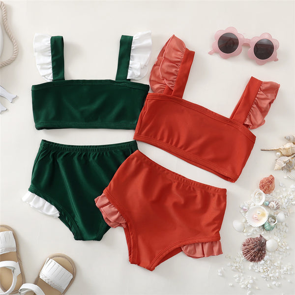 Girls Flying Sleeve Beachwear Top & Shorts 2 Piece Swimsuit With Shorts