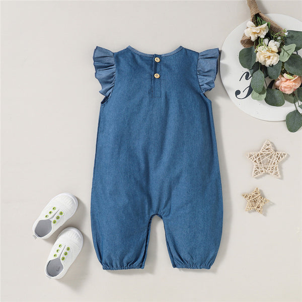 Baby Girls Flying Sleeve Casual Romper Wholesale Baby Clothes
