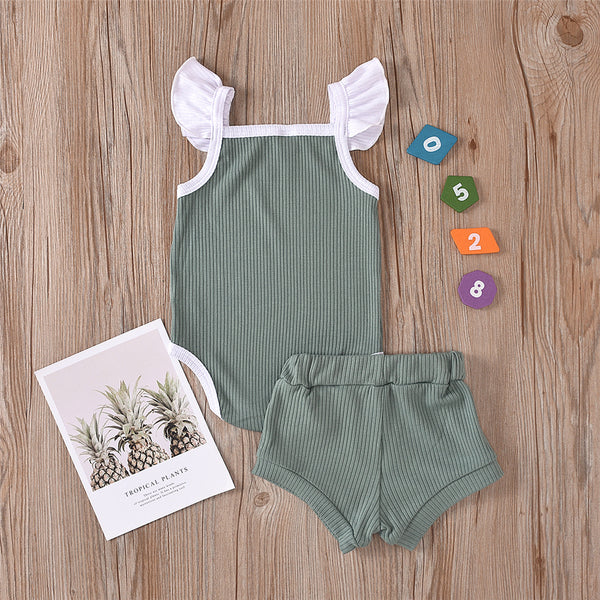 Baby Girls Flying Sleeve Color Contrast Sling Romper & Shorts baby clothes wholesale usa