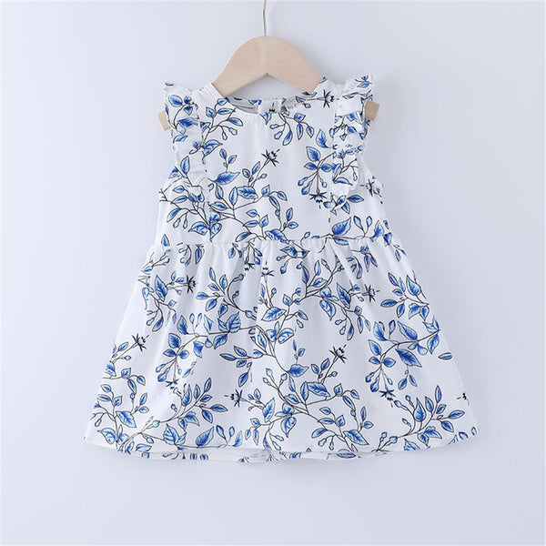 Baby Girls Flying Sleeve Floral Printed A-line Dress cheap baby clothes wholesale