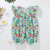 Baby Girls Flying Sleeve Floral Printed Romper cheap baby clothes wholesale