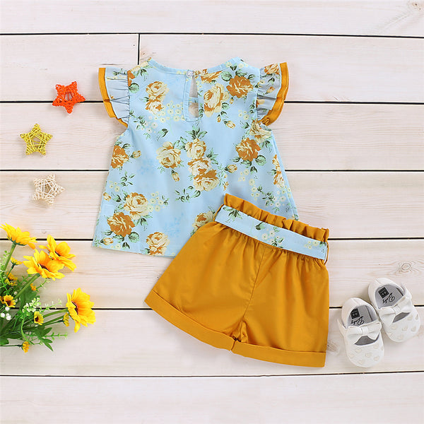 Girls Flying Sleeve Floral Printed Top & Shorts trendy kids wholesale clothing