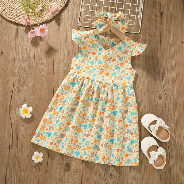 Girls Flying Sleeve Heart Printed Princess Dresses kids wholesale clothing