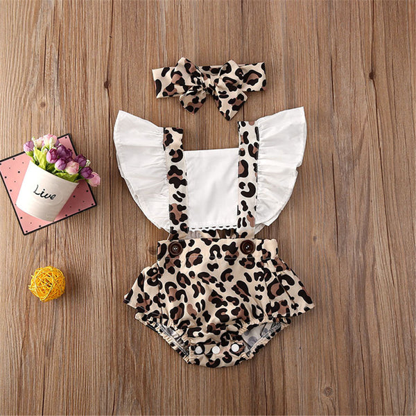 Baby Girls Flying Sleeve Leopard Printed Romper & Headband Wholesale Baby Clothes