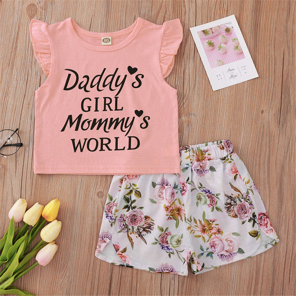 Baby Girls Flying Sleeve Letter Printed Crew Neck Top & Floral Shorts Cheap Boutique Baby Clothing