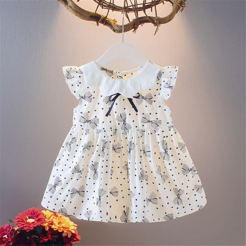 Girls Flying Sleeve Printed Dress childrens wholesale clothing