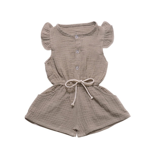 Girls Flying Sleeve Solid Color Cardigan Romper wholesale children's boutique clothing suppliers usa