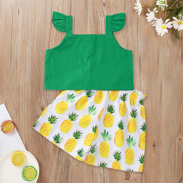 Girls Flying Sleeve Solid Top & Fruit Printed Shorts wholesale girls clothes