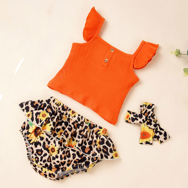 Baby Girls Flying Sleeve Solid Top & Sunflower Leopard Shorts & Headband Baby Wholesale Suppliers