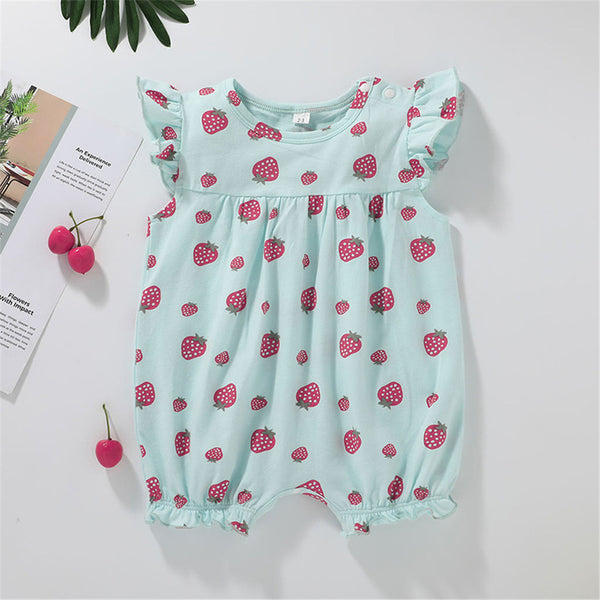 Baby Girls Flying Sleeve Strawberry Printed Romper bulk baby clothes