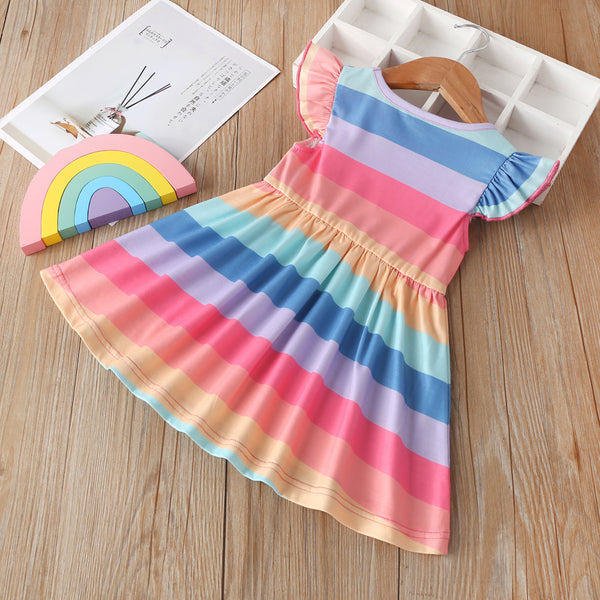 Girls Flying Sleeve Striped Dress kids clothing vendors