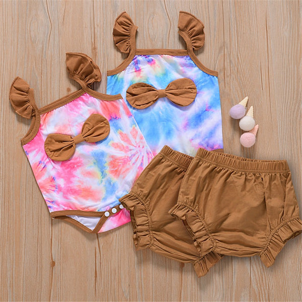 Baby Girls Flying Sleeve Tie Dye Bow Romper & Shorts Wholesale Baby Clothes
