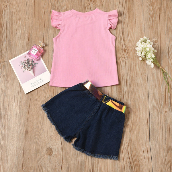 Girls Flying Sleeveless Pink Top & Denim Shorts wholesale childrens clothing