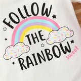 Baby Girls Follow The Rainbow Printed Short Sleeve Romper & Headband Baby Clothing Wholesale